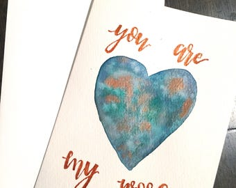 Watercolor Heart World Galaxy 'You are My World' Greeting Card