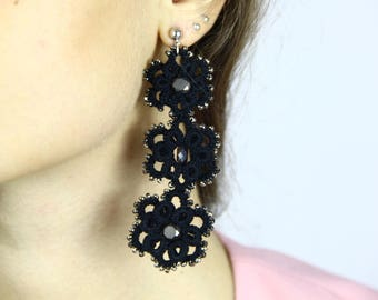 Black earrings in tatting ankars//gifts for her//gifts//Accessories for her//gift ideas