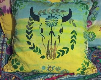 Tie dye animal skull cushion