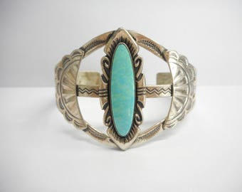 Turquoise Cuff, Sterling Cuff, Native American Cuff, Bell Trading Post Sterling Silver Turquoise Native American Cuff Bracelet #3176