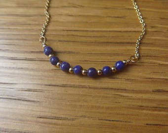 lapis lazuli gemstone beaded necklace