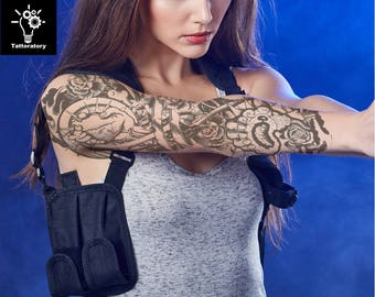 Women Temporary Tattoo Sleeve Steampunk Tattoo Biomechanical Tattoo Arm Temporary Tattoo Realistic Fake Tattoo Sleeve Tatouage Temporaire