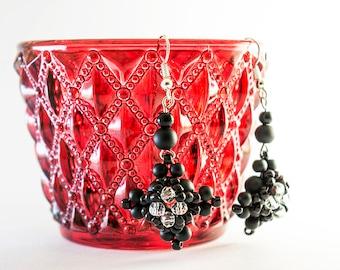 Dangle earrings black onyx beaded jewelry.