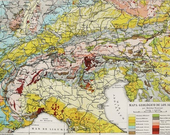 Old map of alps etsy 1900 antique geologic map of the alps geology geological map les alpes alpen sciox Gallery