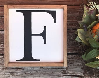 Initial Framed Wood Sign, Custom Initial Sign, Farmhouse Home Decor,  Handprinted Wood Sign Part 90