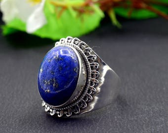 Natural Lapis Lazuli Oval Gemstone Ring 925 Sterling Silver R807