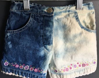 12 month little girl shorts repurposed with dipped dyed