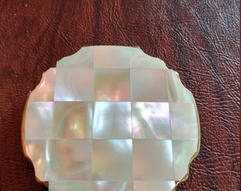 Vintage Unused Stratton of England Mirror/Powder Compact, Gorgeous Mother-of-Pearl With Scalloped Edges