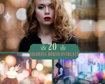 20 Colorful Bokeh Overlays, Photoshop Overlays, Bokeh Photo Overlays, Sparkle Overlay, Digital Backdrop, Bokeh Lights, Lights Overlay