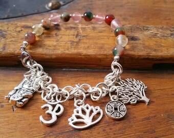 Semi precious stones and charms yoga breathe mantra bracelet / bracelets pendants zen buddha