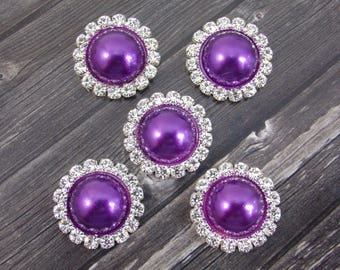 5pcs 20mm Purple Pearl Rhinestone Buttons Sparkly Shimmery Silver Plated Metal Flat Back Wedding Hair Clip Pin Center Piece Embellishment