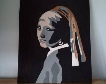 Girl with pearl on wood painted pop art style