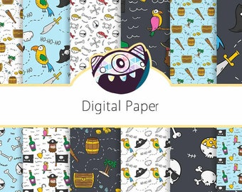 PIRATE Digital Paper, Pirates Printable Pattern Print Nautical, Treasure Map, Instant Download, Pirate Paper Patterns Scrapbook DG92
