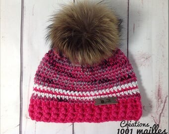 Pink hat , raccoon fur pompon , 3-5 years old size