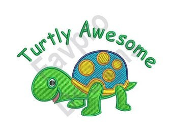 Turtly Awesome - Machine Embroidery Design