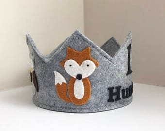 Woodland Birthday Crown, Fox, Raccoon, Owl, Baer, Woodlands Birthday, Party Hat, Wool Felt Crown, Photo Prop, Birthday Decor