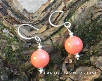 Vintage Coral Chalcedony Earrings