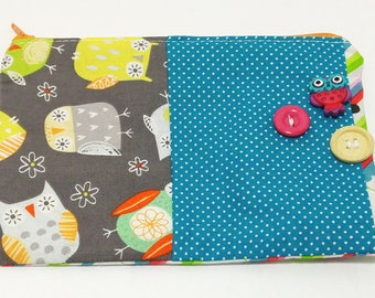 Owls Patchwork Novelty Zipper Pouch - makeup bag; pencil case; gift for her; cosmetic bag; carry all; gadget case;