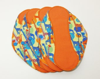 "Giraffe Reusable Pantyliner with Wings (9.5"") - menstrual pad; panty liner; cloth pads; cotton; washable liner; flannel"