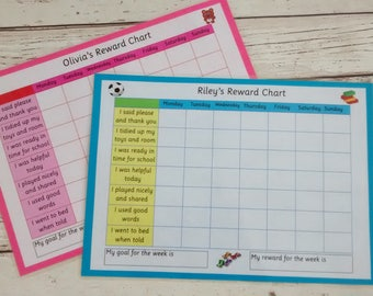 Star chart, Reward chart, Behaviour chart, personalised chart, promote good behaviour, target good behaviour, daily record, improve