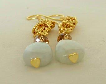 Jadeite & Crystal Earrings-Semi Precious Gemstone Earrings-Handmade Chain Maille Earrings-Unique Jadeite Earrings-UK Made