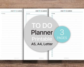 To-Do List Printable, Lined Notes, Notepad, Planner | Dot grid notebook | Printable, A4, A5, Letter.