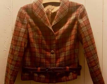 Tartan wool jacket with stylish brown leather belt.