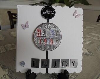 Black & Silver Hand Made Birthday Card, Greeting Card, Male, Blank Inside