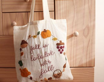 hand embroidered bag autumn theme