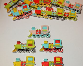 10 x Steam Train - Mixed - Wooden Buttons - 2 Hole