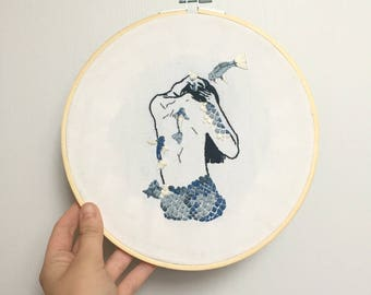 Embroidery handmade BLUE MERMAID