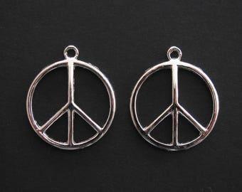 Peace Sign Pendant, Silver Plated, 2.4cm Diameter, Set of 2