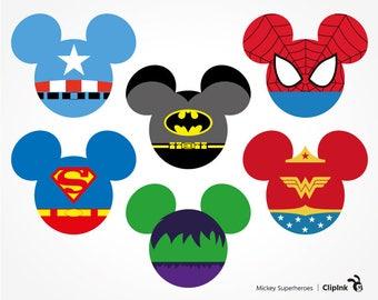 Mickey Superheroes svg, Mickey Head Superhero clipart, Spiderman svg silhouette – svg, eps, png, dxf, pdf. Fabric Shirt Cut Print Mug Decal