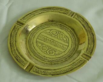 Large Indian Brass Ashtray | Vintage Ashtray