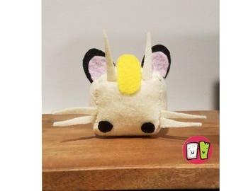 Meowth Pokemon Cube Plushie - 2 Inch Felt Cube