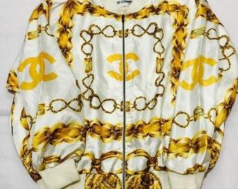 Vintage Chanel Chain Logo CC silk Bomber not versace fendi gucci lv