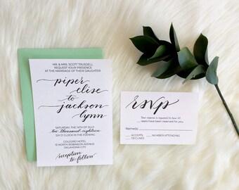 Modern Wedding Invitation Suite, deposit