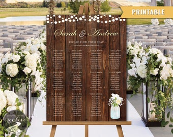 PRINTABLE Personalized Barnboard Mason Jar Rustic Wedding SEATING CHART Seating Plan Poster Sign Wood Lights Mason Jar Flowers, Digital File