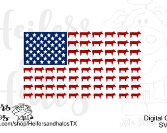 Show Pig Flag svg, pdf, png, eps, dxf, cut file for cricut and silhouette. T-shirts, decals, yeti cups, FFA 4H