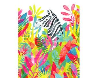 Safari nursery print, watercolor zebra print, zebra nursery art, African animal kids room