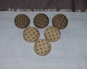 SET OF 6 BUTTONS COTTON BEIGE AND BROWN