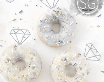 24 Diamond Donut Toppers Diamond Cupcake Toppers - Glitter Diamond Cupcake Toppers Bridal Shower Glitter Diamond Toppers