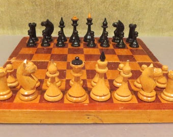 1960s Vintage USSR СССР Soviet Wooden Chess Set, with board