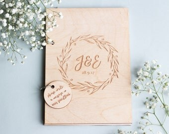 Initial Wedding Guestbook, Wood Wedding Guestbook, Engraved Guestbook, Wood GuestBook, Rustic Guest Book, Wedding Album, Monogram Guestbook,