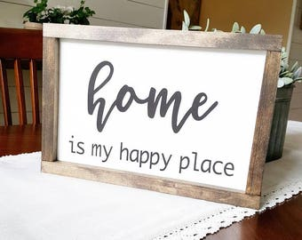 Handcrafted Wood Home Decor Sign - Home is my happy place