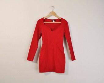 Red Body Con Dress, Vintage 90s Dress, Long Sleeve Dress, 90s Mini Dress, Club Kid Dress, Red Party Dress, Cutout Dress, 90s Rave Dress