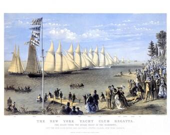 "1896 New York Yacht Club Regatta Art Print 13"" x 19"" Reprint"