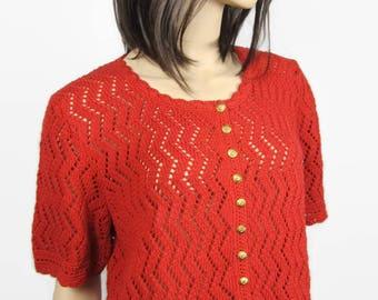 ZIG - ZAG - brown red FishNet vest - 42 (L) T - knit women sweater