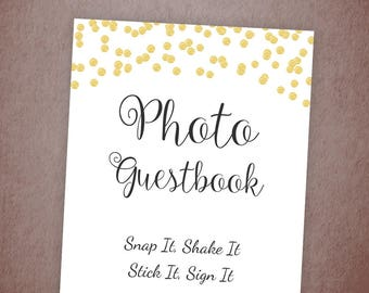 Photo Guest Book Sign, Printable Guest Book Sign, Wedding Photo Booth Sign, Bridal Shower, Baby Shower Sign, Gold Confetti Wedding, A001