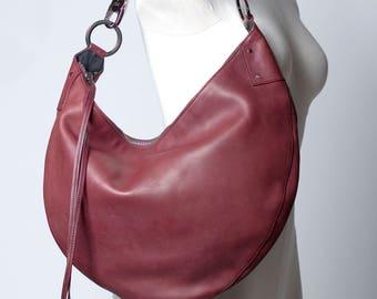 Gucci Large Crescent Burgundy Leather Hobo Bag Vintage